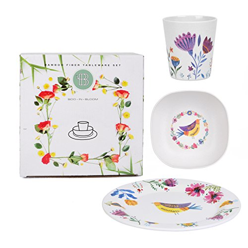 Boo In Bloom Dinnerware Set for Toddlers and Kids| 1 Plate, Bowl, and Cup| Eco Friendly, Shatterproof, Lightweight & Dishwasher Safe| Great Gift for Babyshower, Birthdays, Girl Scouts
