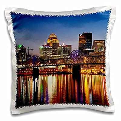 3dRose Skyline, Louisville, Kentucky at Dusk - Us18 Aje0435 - Adam Jones - pillow Case, 16 by 16-Inch (pc_90403_1)