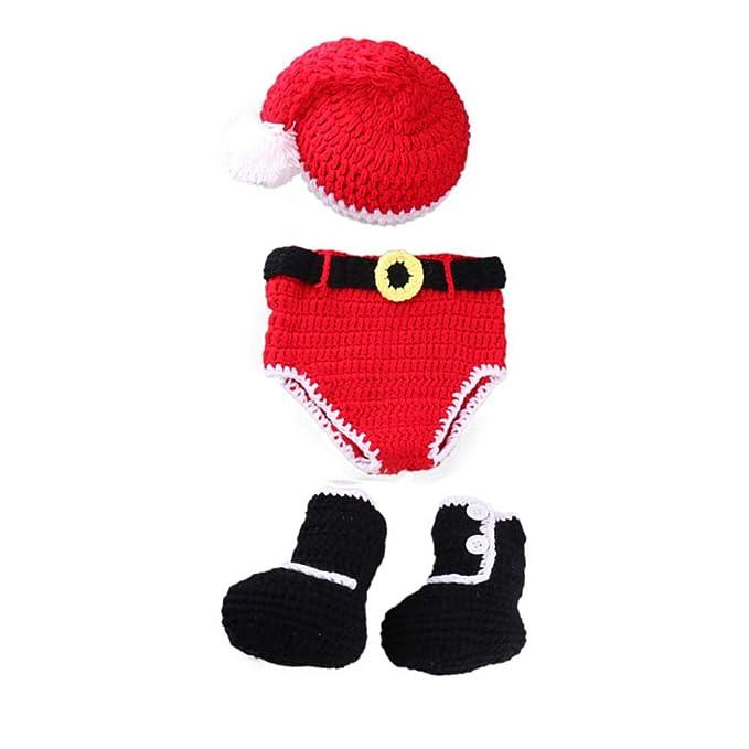 Ogquaton Bebé recién Nacido Crochet Hecho Punto Sombrero de Papá Noel Botas de pañales Traje Estilo navideño Disfraz Fotografía para bebé (0-4 Meses)