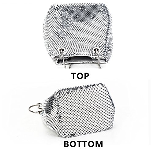 Bucket Handbags Mail Shoulder Bags Mesh Silver Metal Women Mesh Chain Clutch Purses bag Evening for crossbody Bag OgEw41q