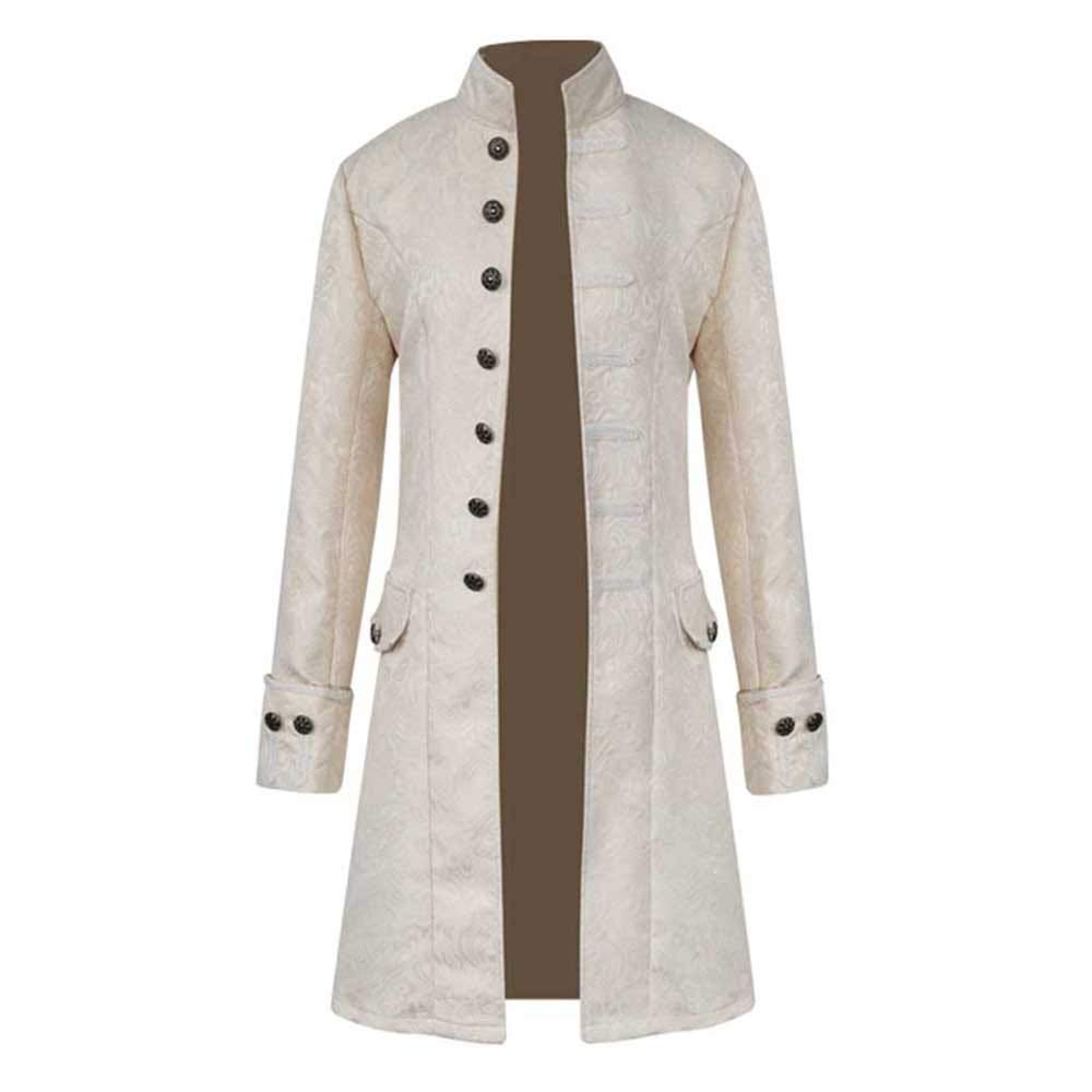 Men Winter Warm Vintage Single-Breasted Tailcoat Jacket Overcoat Slim Fit Outwear Stand Collar Trench Coat TiTCool