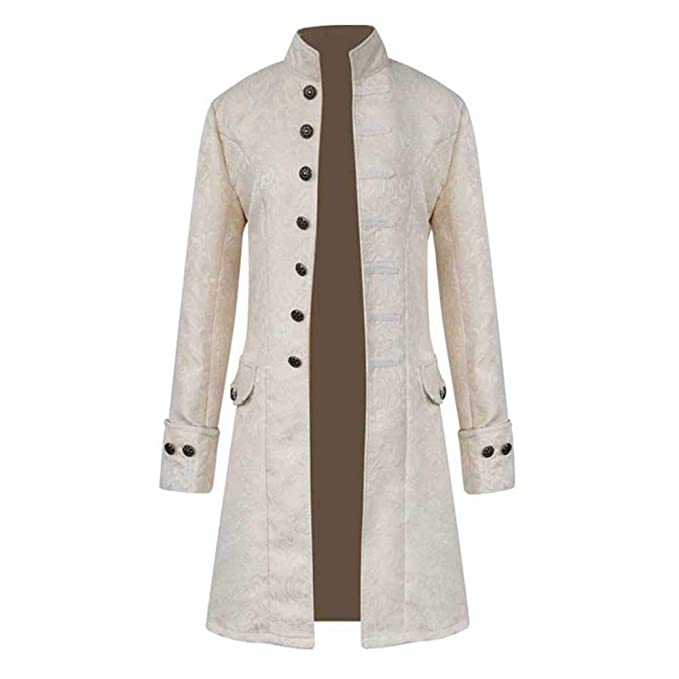 Cebbay Abrigo Largo de Hombre Chaqueta Cuello de botón Vintage Cálido y Delgado Top de diseño