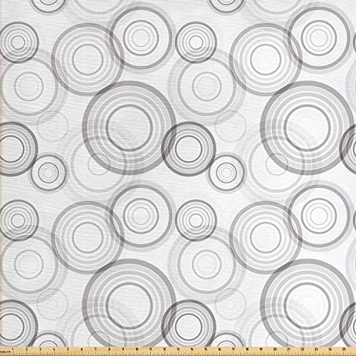 Lunarable Grey Fabric by The Yard, Ring Shapes Abstract Geometric Pattern Concentric Circles Contemporary Modern, Decorative Fabric for Upholstery and Home Accents, 3 Yards, Grey and White