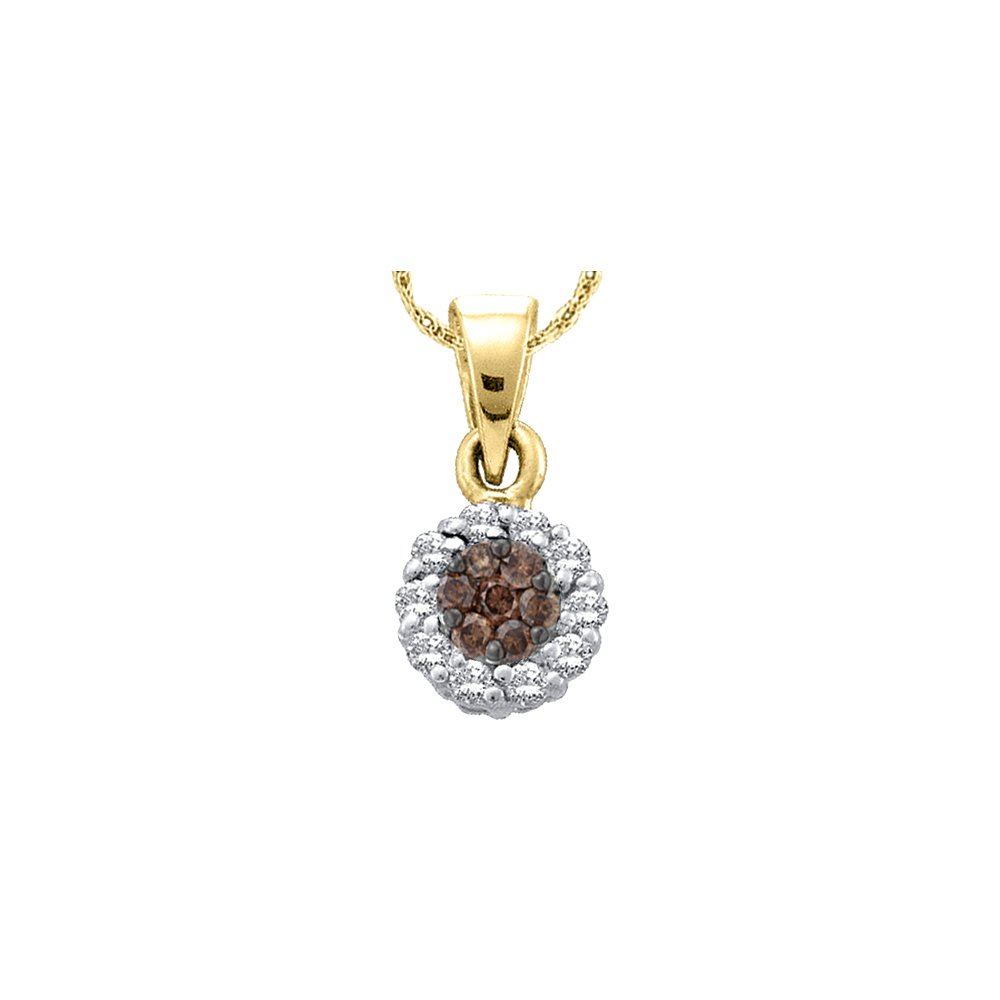 14k Yellow Gold Womens Cognac-brown Colored Diamond Round Flower Cluster Pendant 1.00 Cttw