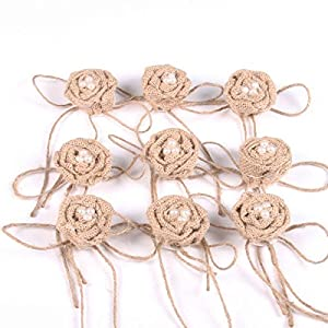 Tinksky Christmas Wedding Embellishments Burlap Pearl Rose Flower Hessian Jute Flower Rustic Vintage,Pack of 9 27