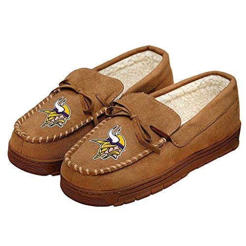 Football Mens Team Logo Moccasin Slippers Shoe - Pick Team (Minnesota Vikings, Large)