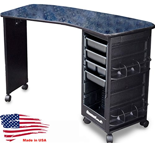 M600-E Econo Manicure Nail Table Curved Black Marble Lamininated Top Made in USA by Dina Meri by Dina Meri (Image #5)
