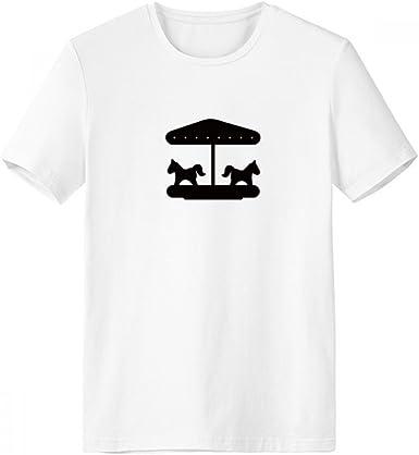 DIYthinker Negro del carrusel del parque de atracciones de la silueta de cuello redondo camiseta blanca de manga corta de deportes de la comodidad camisetas de regalo: Amazon.es: Ropa y accesorios