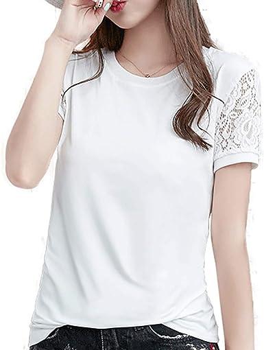 Camiseta de Mujer, Verano Moda Color sólido Manga Corta Encaje Blusa Camisa Cuello Redondo Basica Camiseta Suelto Tops Casual Fiesta T-Shirt Original tee vpass: Amazon.es: Ropa y accesorios