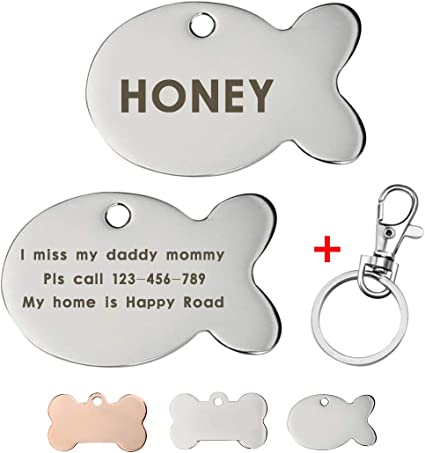 iMucci Colorful Bone Personalized Dog ID Tag Name Phone Number Engraved Front and Back