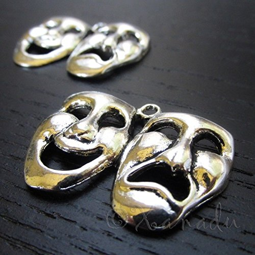 OutletBestSelling Pendants Beads Bracelet Comedy Tragedy Theater Mask Antique Silver Plated Pendants 10pcs (Mask Tragedy Charm Comedy)