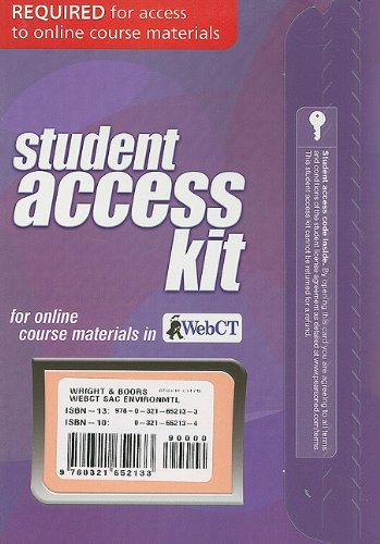 WebCT Student Access Kit for Environmental Science: Toward a Sustainable Future (11th Edition) (Environmental Science Toward A Sustainable Future 11th Edition)
