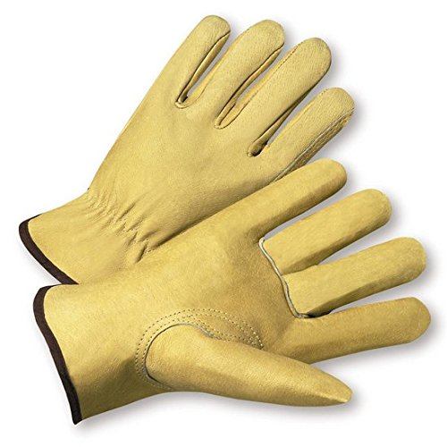 "West Chester 9940K Premium Grain Pigskin Leather Driver Industrial Gloves with Keystone Thumb, Gunn Pattern, Shirred Elastic Wrist Cuff, 10.25"" Length, XLarge, Natural, 12 Pairs"