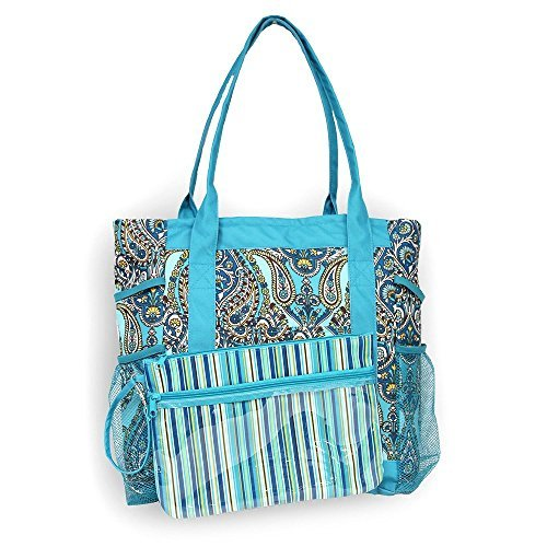 1 Lounge - High Tide 3 in 1 Beach Tote with Lounge Cover & Detachable Pouch (Merinda Teal)