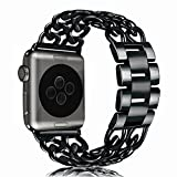 Apple Watch Bands (38mm/42mm), BFYTN Premium Stainless Steel Watch Band, Cowboy Style Bracelet Replacement Strap for Both Apple Watch Series 1 and Series 2, 38mm Black