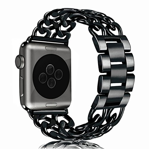 Apple Watch Bands (38mm/42mm), BFYTN Premium Stainless Steel Watch Band, Cowboy Style Bracelet Replacement Strap for Both Apple Watch Series 1 and Series 2, 38mm Black by BFYTN