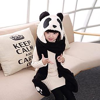 Children Winter 3 in 1 Hoodie Hat with Glove Scarf OKSakady Kid Multi-functional Soft Thick Warm Fleece Hat Scarf Glove Set