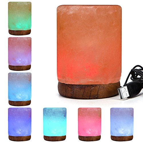 Natural Himalayan Rock Salt Lamp - Pink Column Hand Carved Glow Salt Lamps With Wood Base Included USB Electric Wire & Multi Color Changing LED Light - Mini Air Purifier (Column Usb Cable)