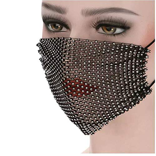 AOLUNO Sparkly Rhinestone Mesh Mask- Masquerade Nightclub Mask - Cosplay Crystal Costume masks - Venetian Mardi Gras Jewelry for Women - Black