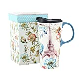 17 oz. Ceramic Travel Mugs and Coffee Cup with Sealed Lid and Gift Box
