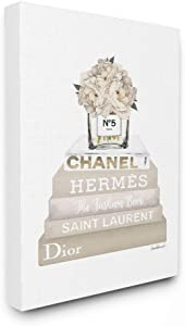 The Stupell Home Décor Collection High Fashion Bookstack with Tan Flowers Stretched Canvas Wall Art, 24 x 30, Multi-Color