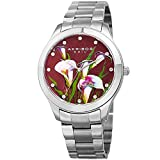 Akribos XXIV Women's Silver-Tone Case with Genuine Swarovski Crystals and White Mother-of-Pearl with Plum Flower Dial on Silver-Tone Stainless Steel Bracelet Watch AK953FSS