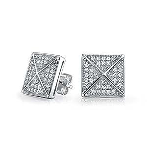 Bling Jewelry Plata Esterlina Hombre Pirámide Micro Allanar pike stud Arete 11mm