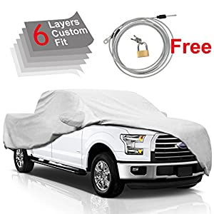 F150 Truck Cover for Ford F150 2001-2017, 6 Layers All Weather Waterproof, Windproof Dustproof Scratch Proof F150 Car Cover, Free Windproof Ribbon & Anti-theft Lock