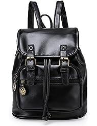 Angelliu Womens Vintage Retro Style PU Leather College School Bag Casual Mini Travel Backpack Satchel