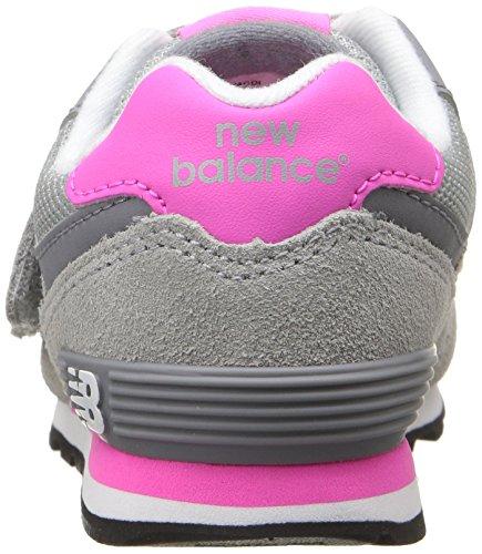 Fuchsia De Avec Suède En Sport Caoutchouc Latéral Balance New Logo Tissu Grise Chaussure Fille L'arrière Semelle Velcro Visibles À Filles Et Coutures vE8qFY