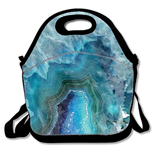 (Blue Watercolor Agate Geode Print Neoprene Lunch Bag for Women Adults Kids, Cute Tote Handbag Lunchbox for School Work Office)