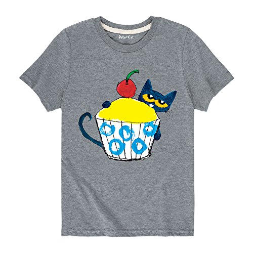Pete the Cat with Big Cupcake - Toddler Short Sleeve Tee Athletic Heather