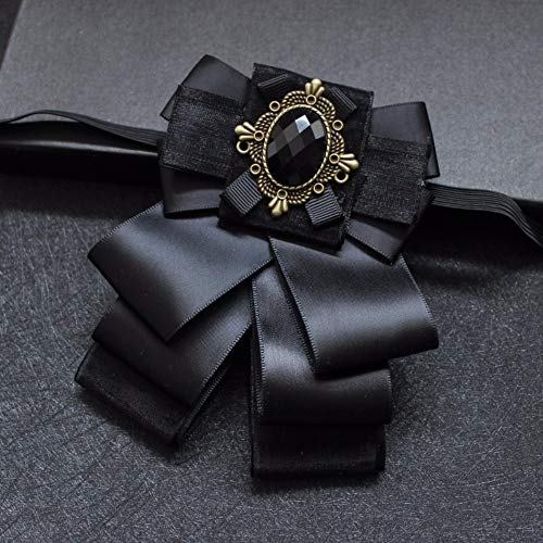 Cameo Flower Fabric Rhinestone Pins and Brooches Vintage Luxury Badge Cravat Broche for Men Black ()