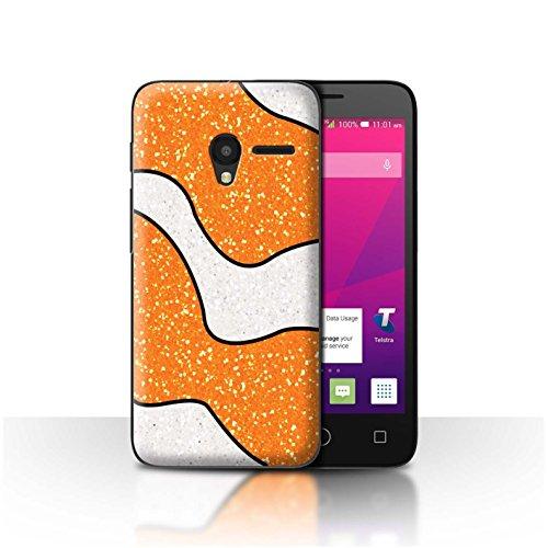 STUFF4 Phone Case/Cover for Alcatel OneTouch Pixi 3 5/Orange Clownfish Design/Glitter Pattern Effect (Pattern Plastic Hardback Cover)
