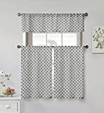 Home Maison Moana Geometric Print Linen Textured Kitchen Tier & Valance Set | Small Window Curtain for Cafe, Bath, Laundry, Bedroom Grey