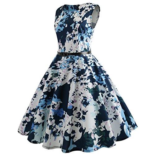 Imprime Style sans Swing Manches Ligne de Rockabilly Jitong Femmes Cocktail pour A Robes Robe Plisse Vintage Soire 20 papW0Rqn7