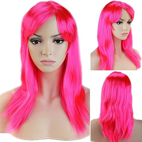 [Cosplay Synthetic Full Wig with Bangs 20 Styles Heat Resistant Fiber Vogue Long Straight Layered 20'' / 20inch for Women Girls Lady Halloween Anime Costume Party Date,Dark] (Halloween Costumes With Pink Hair)