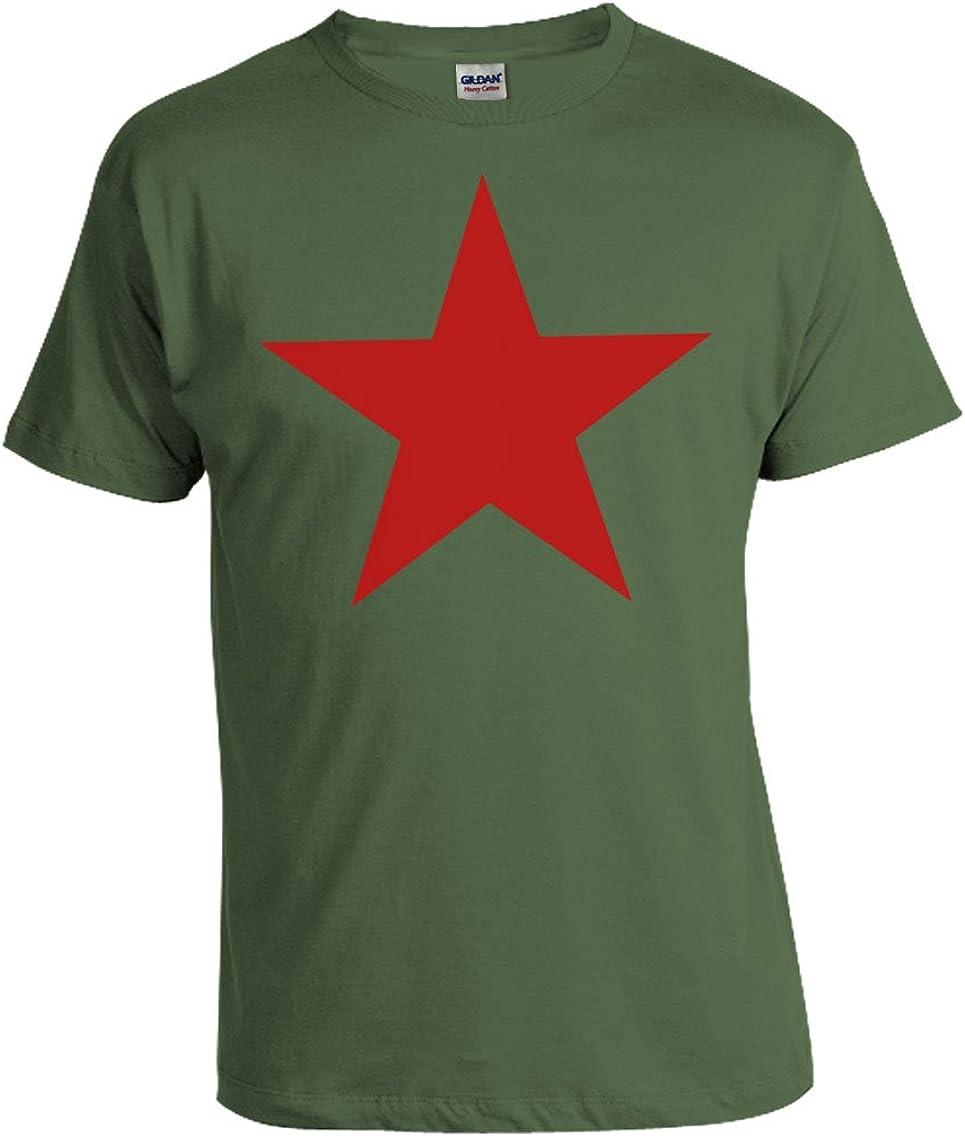Camiseta de impresión de la estrella Revolution Viva La Revolucion en verde y roja S de XXXXL