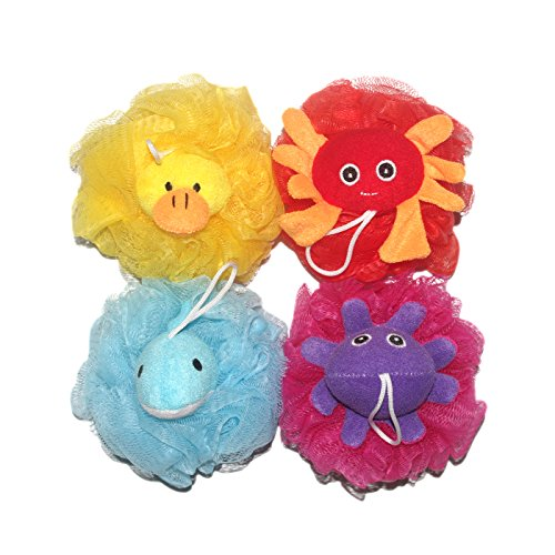 4Pcs/Set Stuffed Animal Bath and Shower Mesh Pouf (Around 5-inch Loofah with 65 Gram Each) for Kids Childs Baby Toy