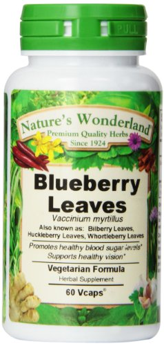 (Nature's Wonderland Blueberry Leaves Herbal Supplement Capsules, 525 mg, 60 Count Bottles)