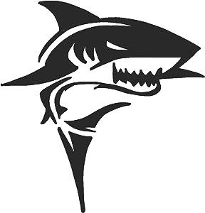 hBARSCI Shark Vinyl Decal - 5 Inches - for Cars, Trucks, Windows, Laptops, Tablets, Outdoor-Grade 2.5mil Thick Vinyl - Matte Black