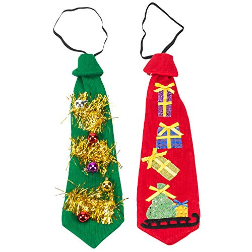 Kelli's Shop Ugly Sweater TIE, 2 Assorted Transpac Imports, Present and Ornament Red and Green 19 x 6 Polyester Knit Christmas Ties Set of 2 Multicolor -