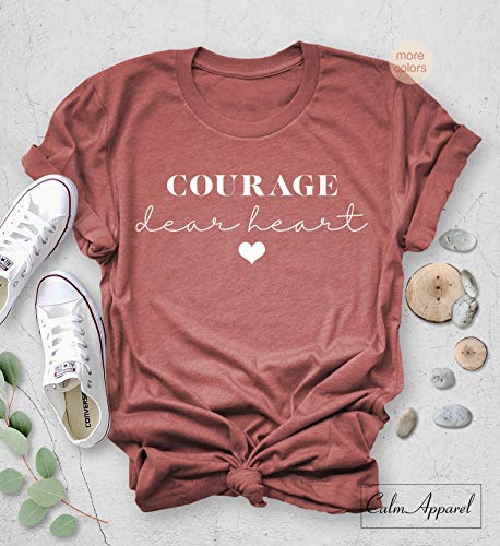 Courage Dear Heart T-shirt, CS Lewis Quote, Book Lover Tee, Graphic Letter Print, Unisex - Graphic Lover