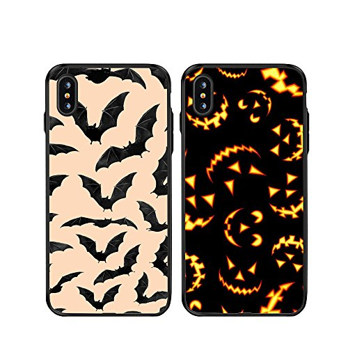 IPhone 10/Iphone X 2x Cases,TTOTT New 2X Floral Fashion Pumpkin Black Bat Slim Bumper Anti Scratch Shockproof Matching Couple Cases for IPhone 10/Iphone X 5.8