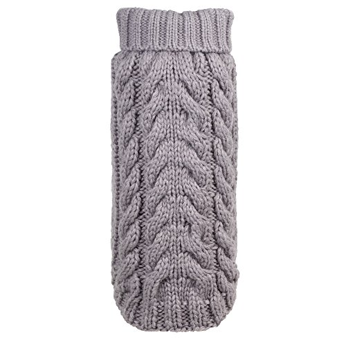 (The Worthy Dog Hand Knit Turtleneck Sweater for Dogs, Small, Gray)