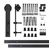 Vancleef 10FT Single Door Kit Sliding Barn Door Hardware, Straight Design, Industrial Strength, Black Rustic, Interior and Exterior Use, With Quiet Glide Roller and Descriptive Installation Manual