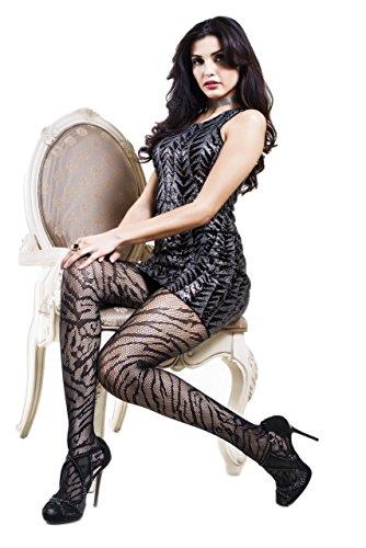 Stripe Sexy Tights Hosiery (Yelete Killer Legs Women's One / Plus Size Patterned Thigh High Fishnet Tights Stocking Pantyhose (Regular, Animal Stripes))