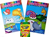 Set of Two Color By Numbers Coloring Books With 24 Pack Crayons