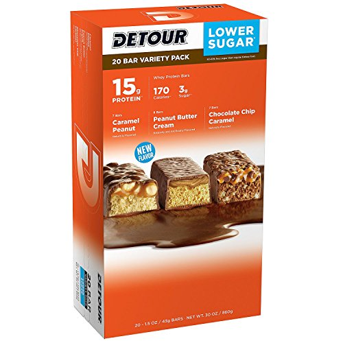 Detour Lower Sugar Whey Protein Bar, Caramel Peanut Bars, Peanut Butter Cream Bars, Chocolate Chip Caramel, 1.5 Ounce Each- Variety 3 Pack (60 Count Total ) by Detour
