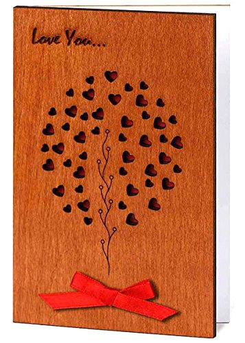 Handmade Sustainable Real Wood Card Love Family Tree Unique Valentine Anniversary Present or Birth of New Baby